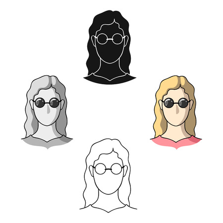 A woman with blond hair with glasses.A blind woman because of diabetes.Diabetes single icon in cartoon,black style vector symbol stock illustration.