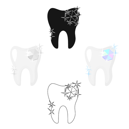 Tooth with diamond icon in cartoon,black style isolated on white background. Dental care symbol stock vector illustration.