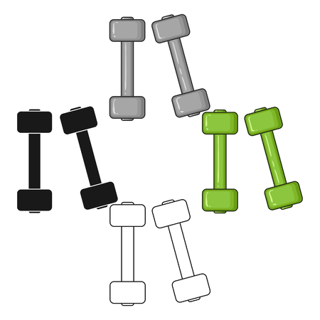 Dumbbells icon in cartoon,black style isolated on white background. Sport and fitness symbol stock vector illustration.