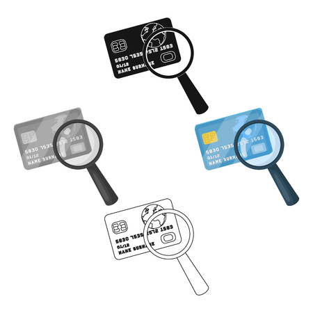 Plastic credit card with a magnifying glass. Detective looking for fingerprints.Detective single icon in cartoon,black style vector symbol stock illustration.