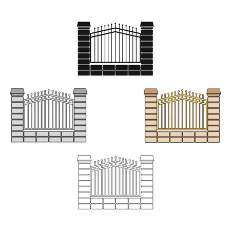 A fence of metal and bricks. A different fence single icon in cartoon,black style vector symbol stock illustration web. Illustration