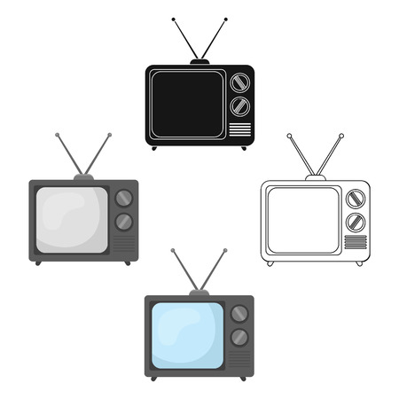 Television advertising icon in cartoon,black style isolated on white background. Advertising symbol stock vector illustration.  イラスト・ベクター素材