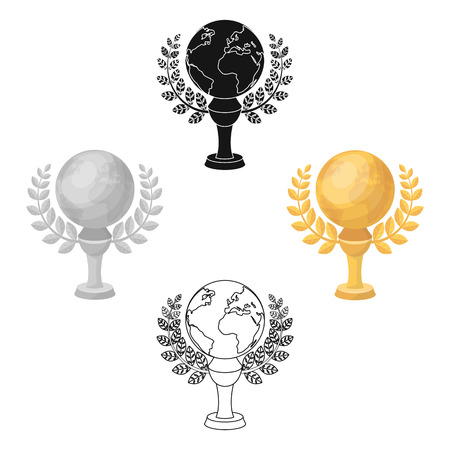 Golden planet with a wreath.The trophy for the best film about the Earth.Movie awards single icon in cartoon,black style vector symbol stock illustration.