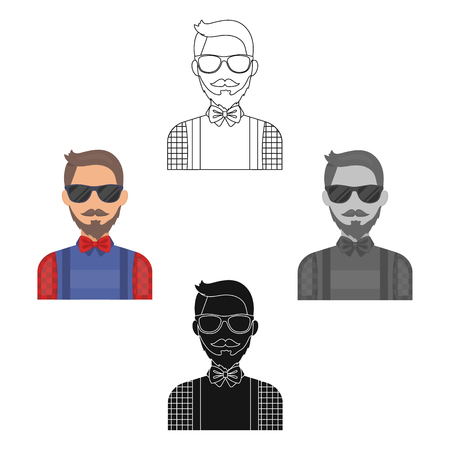 Hipster icon in cartoon,black style isolated on white background. Hipster style symbol stock vector illustration. Stock Illustratie