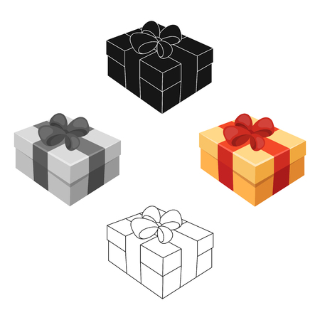 Gift and packing cartoon icons in set collection for design.Colorful packing vector symbol stock web illustration. Vektorgrafik