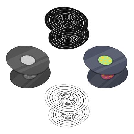 Vinyl records.Hippy single icon in cartoon,black style vector symbol stock illustration web.