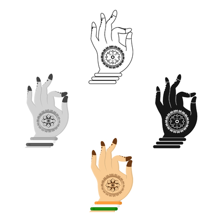Mudra icon in cartoon,black style isolated on white background. India symbol stock vector illustration.