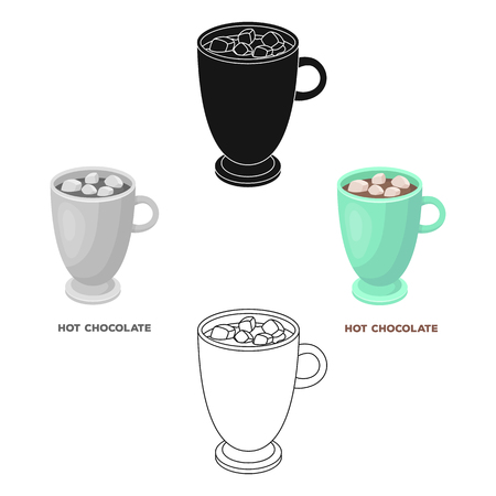 A cup of hot chocolate.Different types of coffee single icon in cartoon,black style vector symbol stock illustration web.