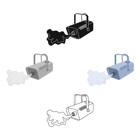Nebelmaschine Symbol im Cartoon, schwarzer Stil isoliert auf weißem Hintergrund. Event-Service-Symbol-Lager-Vektor-Illustration.
