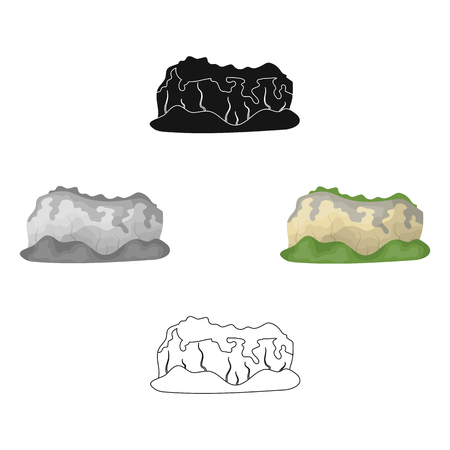 High green mountains.Mountains covered with forests.Different mountains single icon in cartoon,black style vector symbol stock illustration.