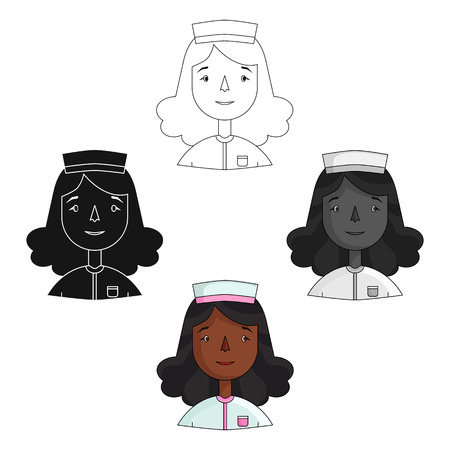 Nurse icon in cartoon,black style isolated on white background. People of different profession symbol stock vector illustration.