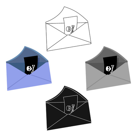 E-mail with key password icon in cartoon,black style isolated on white background. Hackers and hacking symbol stock vector illustration. Ilustração