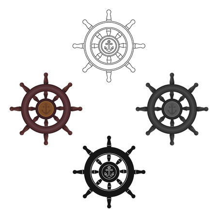 Wooden ship steering wheel icon in cartoon,black style isolated on white background. Pirates symbol stock vector illustration. Vetores