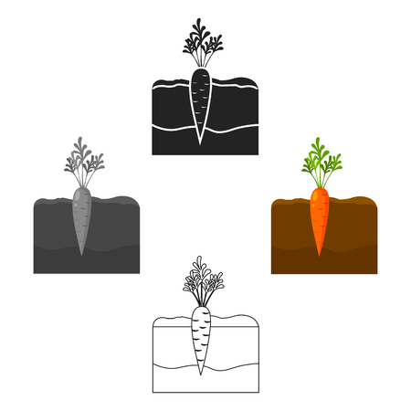 Carrot icon cartoon,black. Single plant icon from the big farm, garden, agriculture cartoon,black.