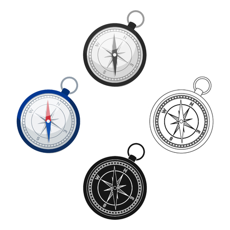 Compass icon in cartoon,black style isolated on white background. Rest and travel symbol stock vector illustration.
