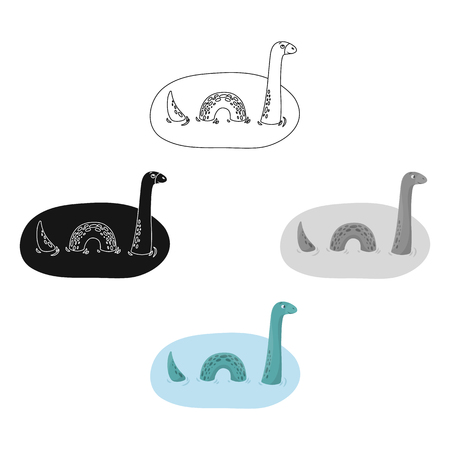 Loch Ness monster icon in cartoon,black style isolated on white background. Scotland country symbol stock vector illustration.