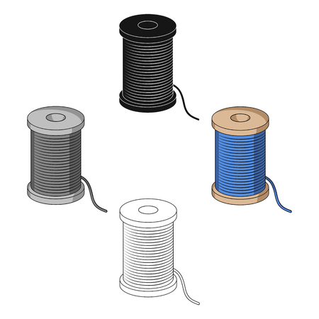 A reel of blue thread.Sewing or tailoring tools kit single icon in cartoon,black style vector symbol stock illustration. Illustration