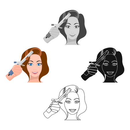 Hair curling in the hairdresser. Curling Hair single icon in cartoon,black style vector symbol stock illustration web.