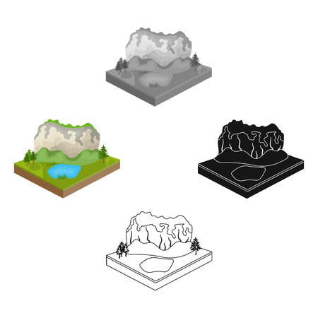 Mountains, rocks and landscape. Relief and mountains single icon in cartoon,black style isometric vector symbol stock illustration web.