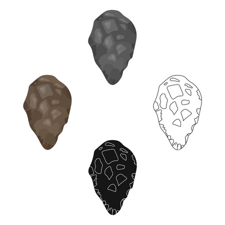 Stone tool icon in cartoon,black style isolated on white background. Stone age symbol stock vector illustration. Vector Illustration