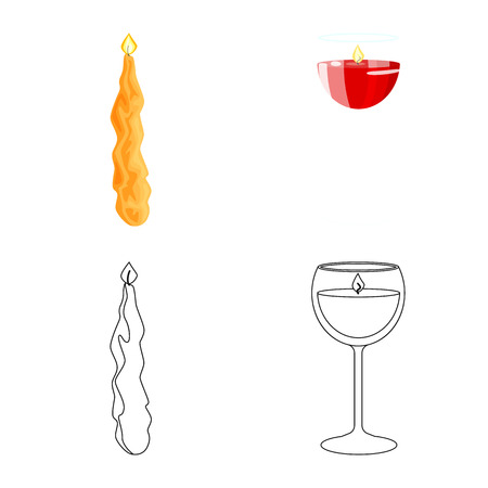 Vector design of relaxation and flame logo. Collection of relaxation and wax stock vector illustration.