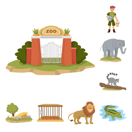 Vector design of zoo  and park logo. Set of zoo  and animal vector icon for stock.