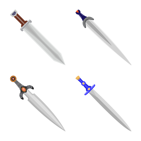 Vector design of sword  and dagger  symbol. Collection of sword  and weapon vector icon for stock.