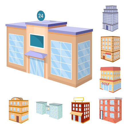 Isolated object of city and build icon. Collection of city and apartment vector icon for stock.