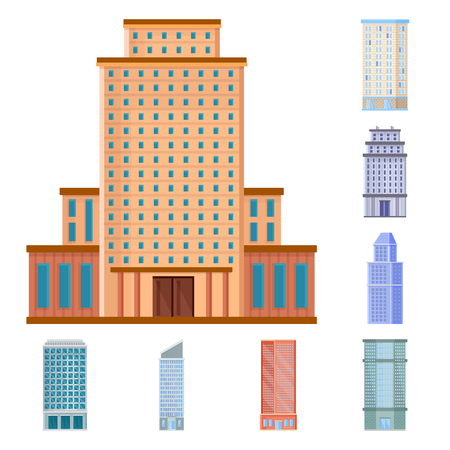 Vector illustration of facade and building icon. Collection of facade and exterior  vector icon for stock.