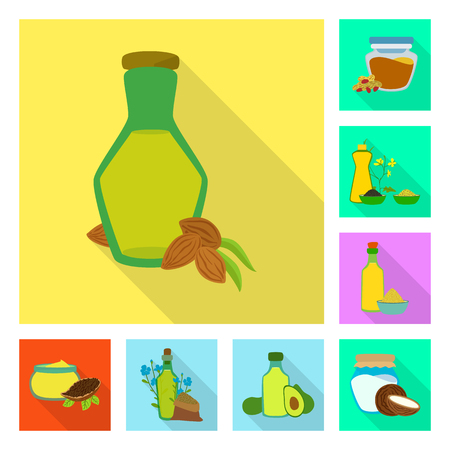 Isolated object of bottle and glass  logo. Set of bottle and agriculture stock vector illustration.