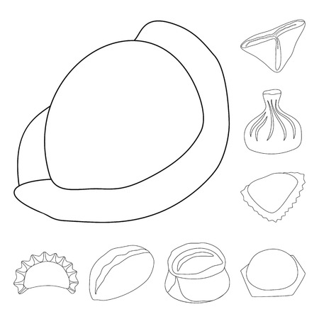 Isolated object of food  and dish symbol. Collection of food  and cooking stock vector illustration.