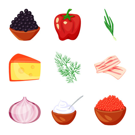 Vector design of food and flavors icon. Collection of food and ingredient stock symbol for web. 向量圖像