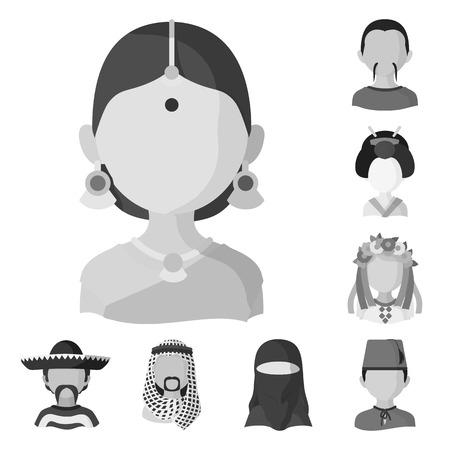 Disegno vettoriale dell'icona di persona e cultura. Raccolta di persona e icona di vettore di razza per stock. Vettoriali