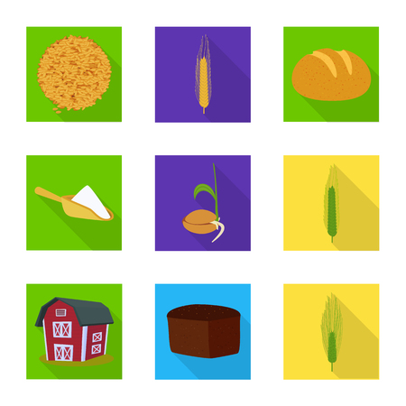 Vector illustration of wheat and corn symbol. Collection of wheat and harvest stock symbol for web.