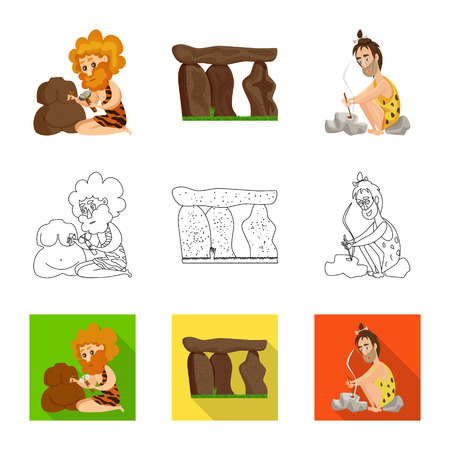 Vector design of evolution  and prehistory logo. Collection of evolution  and development  stock vector illustration. 일러스트