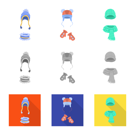 Isolated object of clothes and texture icon. Collection of clothes and weather vector icon for stock. Ilustracje wektorowe