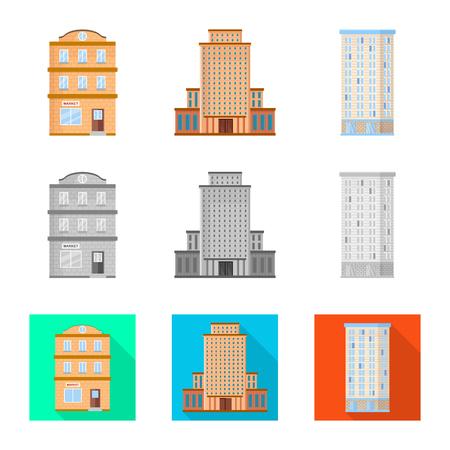 Oggetto isolato del logo comunale e centrale. Raccolta di illustrazione vettoriali stock comunale e immobiliare.