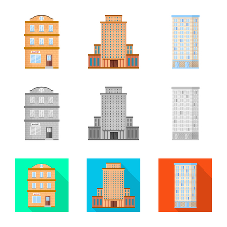 Isolated object of municipal and center logo. Collection of municipal and estate   stock vector illustration.