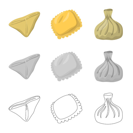 Vector design of products  and cooking icon. Set of products  and appetizer stock symbol for web.