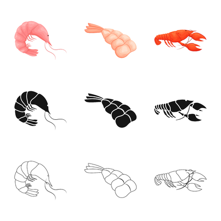 Vector illustration of appetizer and ocean symbol. Collection of appetizer and delicacy vector icon for stock. Stockfoto - 122716711