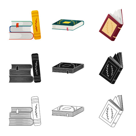 Vector illustration of training and cover icon. Set of training and bookstore  stock symbol for web.