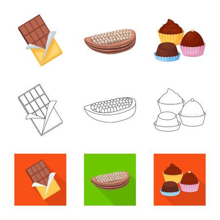 Vector illustration of food and yummy symbol. Collection of food and brown   stock symbol for web.