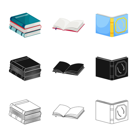 Isolated object of training and cover symbol. Set of training and bookstore  stock symbol for web.
