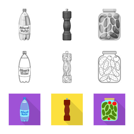 Isolated object of cooking and sea icon. Set of cooking and baking   vector icon for stock. Illustration