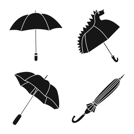 Vector illustration of weather and rainy sign. Set of weather and rain stock vector illustration. Illustration
