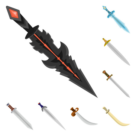 Isolated object of sword  and dagger  logo. Collection of sword  and weapon stock vector illustration. Vettoriali