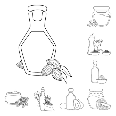 Isolated object of healthy and vegetable logo. Collection of healthy and organics vector icon for stock.