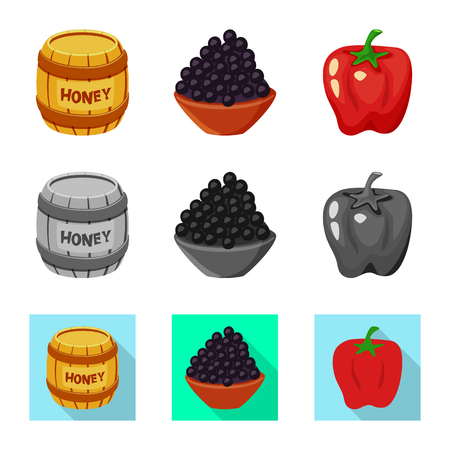 Vector illustration of taste and product symbol. Collection of taste and cooking vector icon for stock.