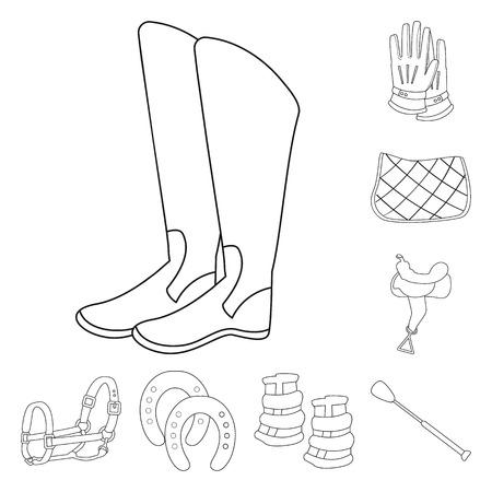 Vector illustration of horseback and equestrian symbol. Collection of horseback and horse  stock vector illustration.