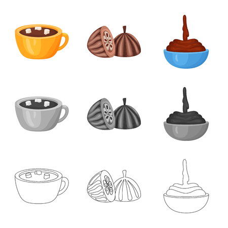 Isolated object of food and yummy symbol. Collection of food and brown   vector icon for stock. Standard-Bild - 122829278